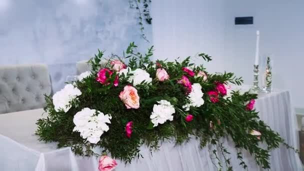 Large Flower Arrangement On A Table Decorated With A Tablecloth Stock Video C Khabarovdaniil 223552548
