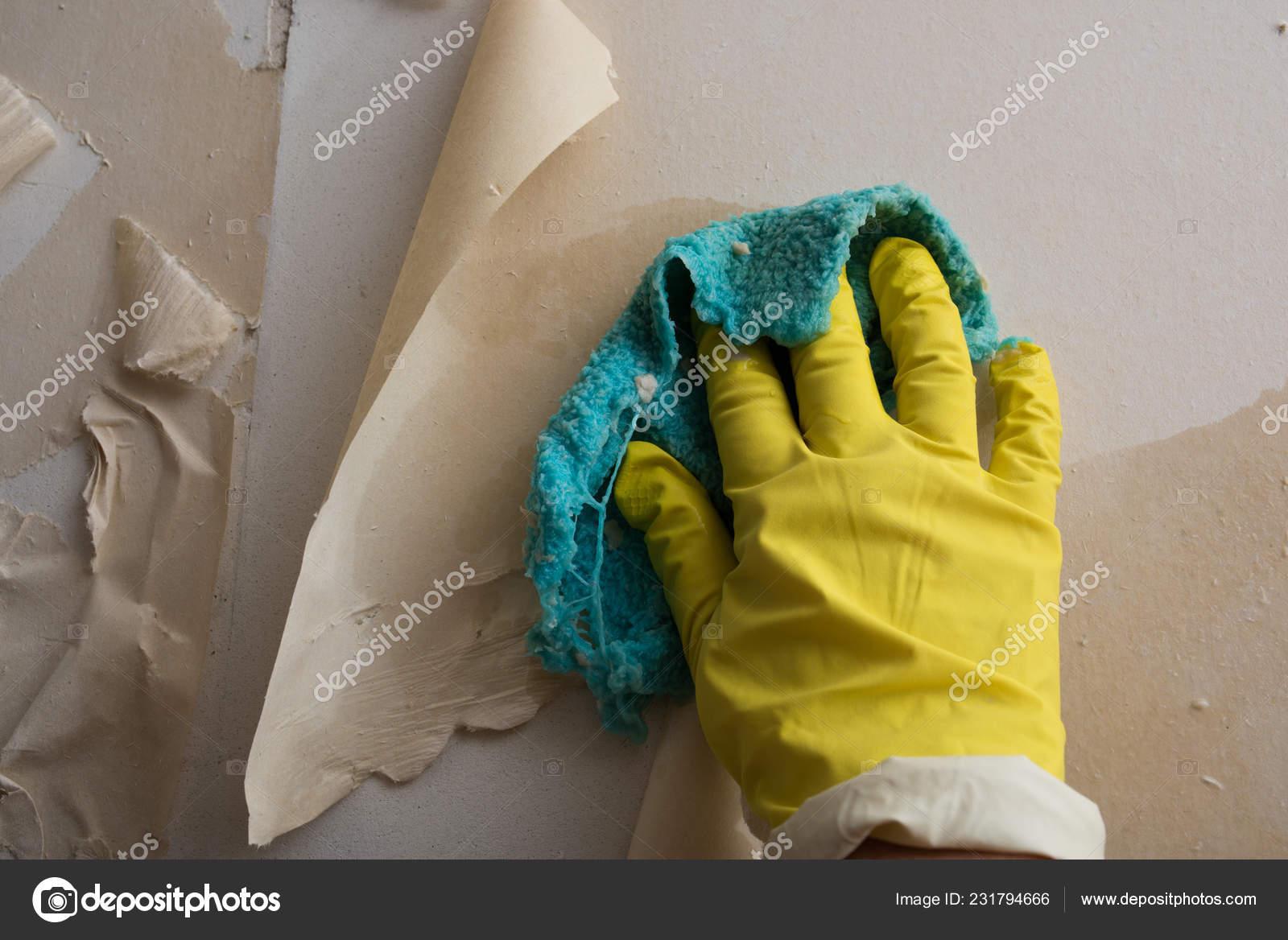 Preparing Wall Painting Sticking New Wallpaper Man Yellow