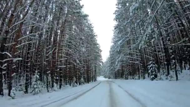 POV úhlu pohledu - jízda v horách po sněhové bouři.