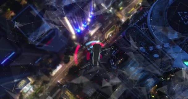 AERIAL. Animation of drone flying above city Futuristic lines and technology concept