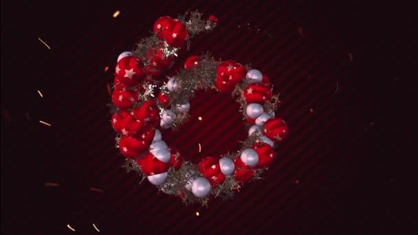 Film 4k Dovolená kreativní tunel animace s vánočními míčky a sněhové vločky na roteted červené Tmavý styl linky na pozadí.