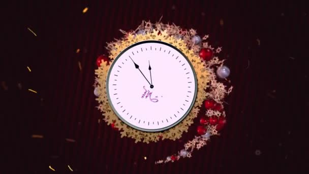 Holiday creative tunnel animation with white clock, xmas balls, snowflakes on roteted red Dark style lines background.