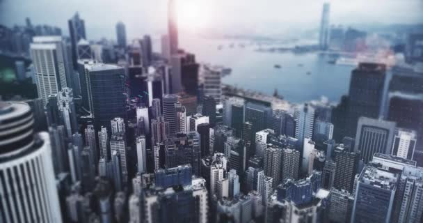 AERIAL. Animation of charts bar and Hong Kong cityscape on the background.