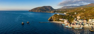 Aerial drone panoramic view landscape of South Cost of Crimea