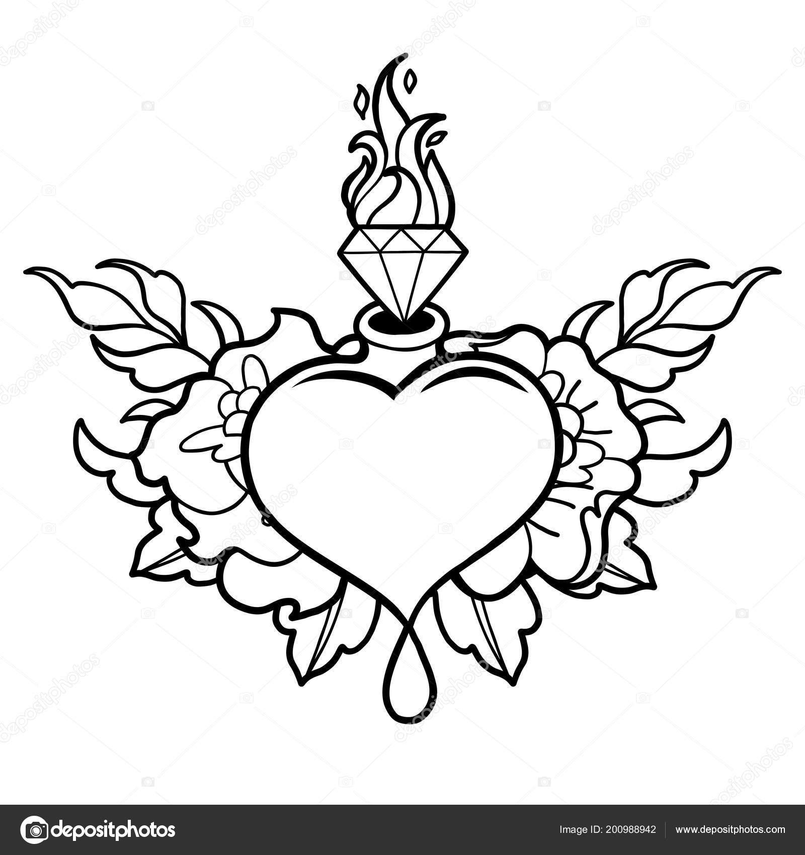Grafik Kalp Jemstone Ve çiçekler Ile Stok Vektör Homunkulus28