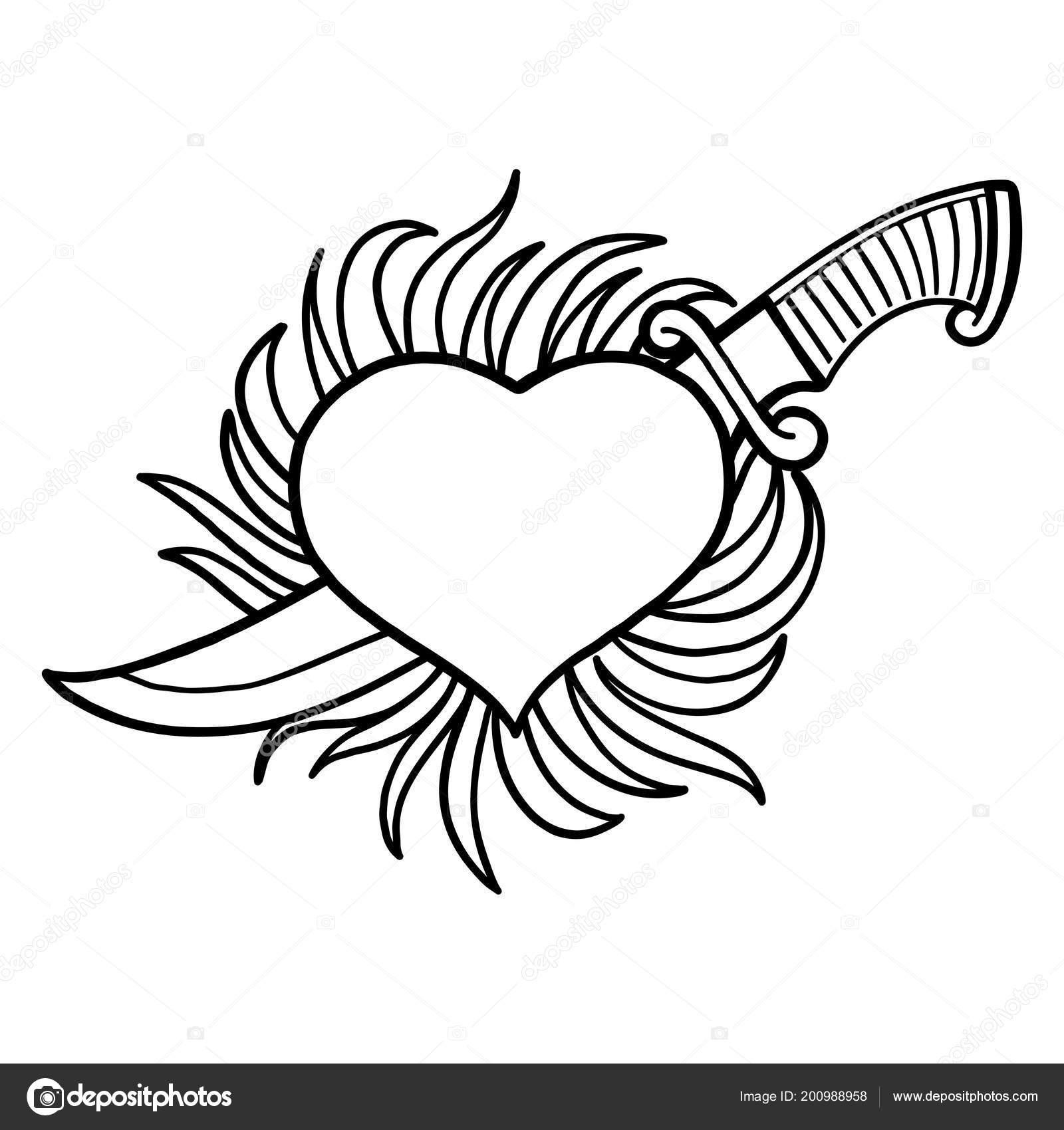 Dibujos Corazones De Amor Con Alas De Fuego Para Colorear Gráfico