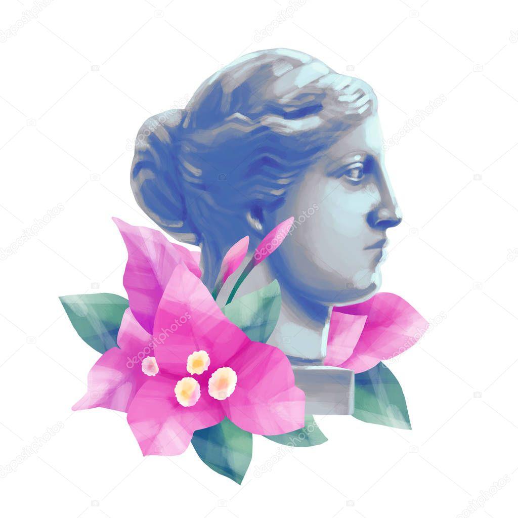 Venus de Milo head with flowers
