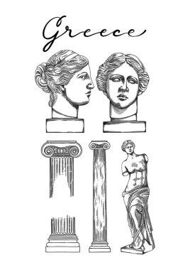Collection of ancient columns and sculptures of Venus de Milo