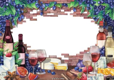 Watercolor bottles and glasses of red and white wine decorated with cheese, blue grapes, figs, strawberries and star anise with brick wall on the background. Hand painted isolated illustration stock vector