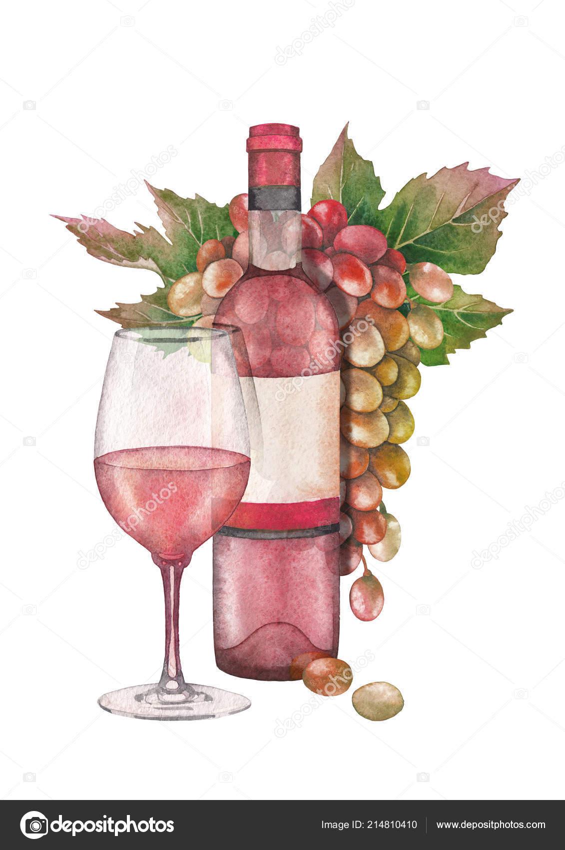 Suluboya Bardak Gül şarap şişe Ve Beyaz Ve Kırmızı üzüm