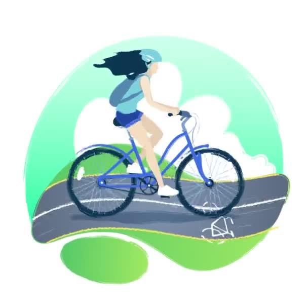 Dívka na koni na kole na cyklostezce přes zelené pole