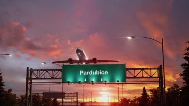 Letadlo vzlétnout Pardubice během nádherný východ slunce