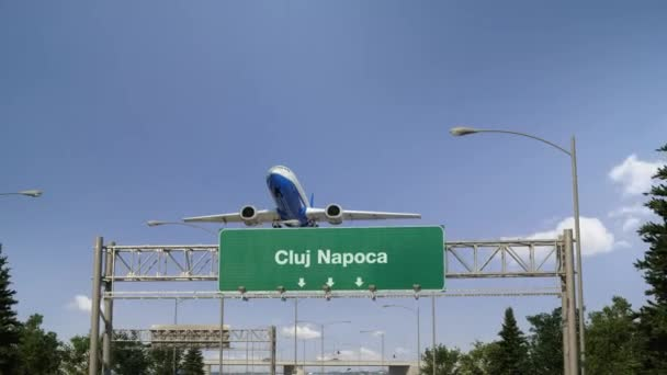 Airplane flying over airport signboard