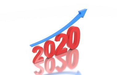 New Year 2020 Creative Design Concept with Arrow - 3D Rendered Image