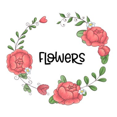 A wreath of peonies hand-drawing. Vector illustration