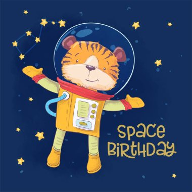 Postcard poster of cute astronaut tiger in space with constellations and stars in cartoon style. Hand drawing.