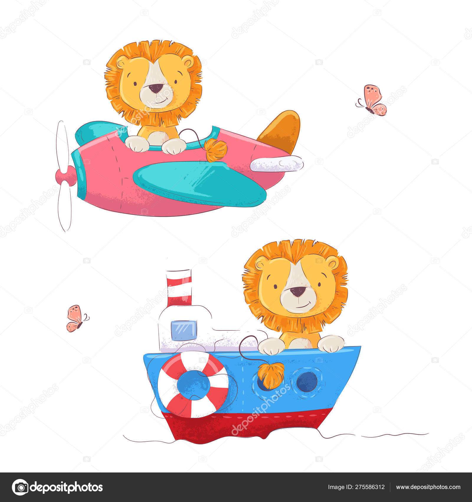 Set Cute Cartoon Lion On A Plane And Boat Children Clipart Vector