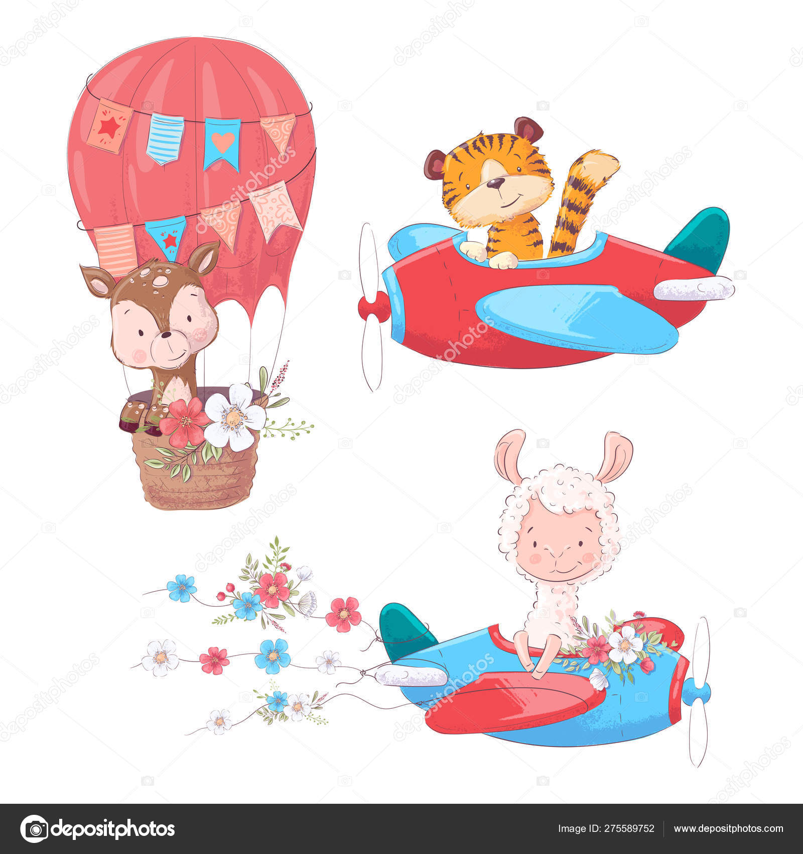 Set Cartoon Cute Animals Tiger Deer And Llama On An Airplane And