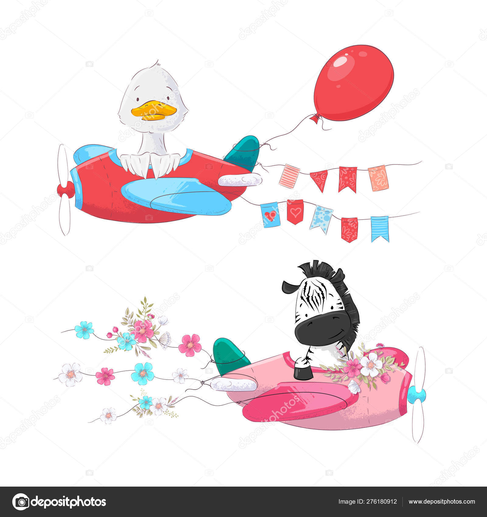Cute Cartoon Illustration Set Air Transport Airplane Helicopter