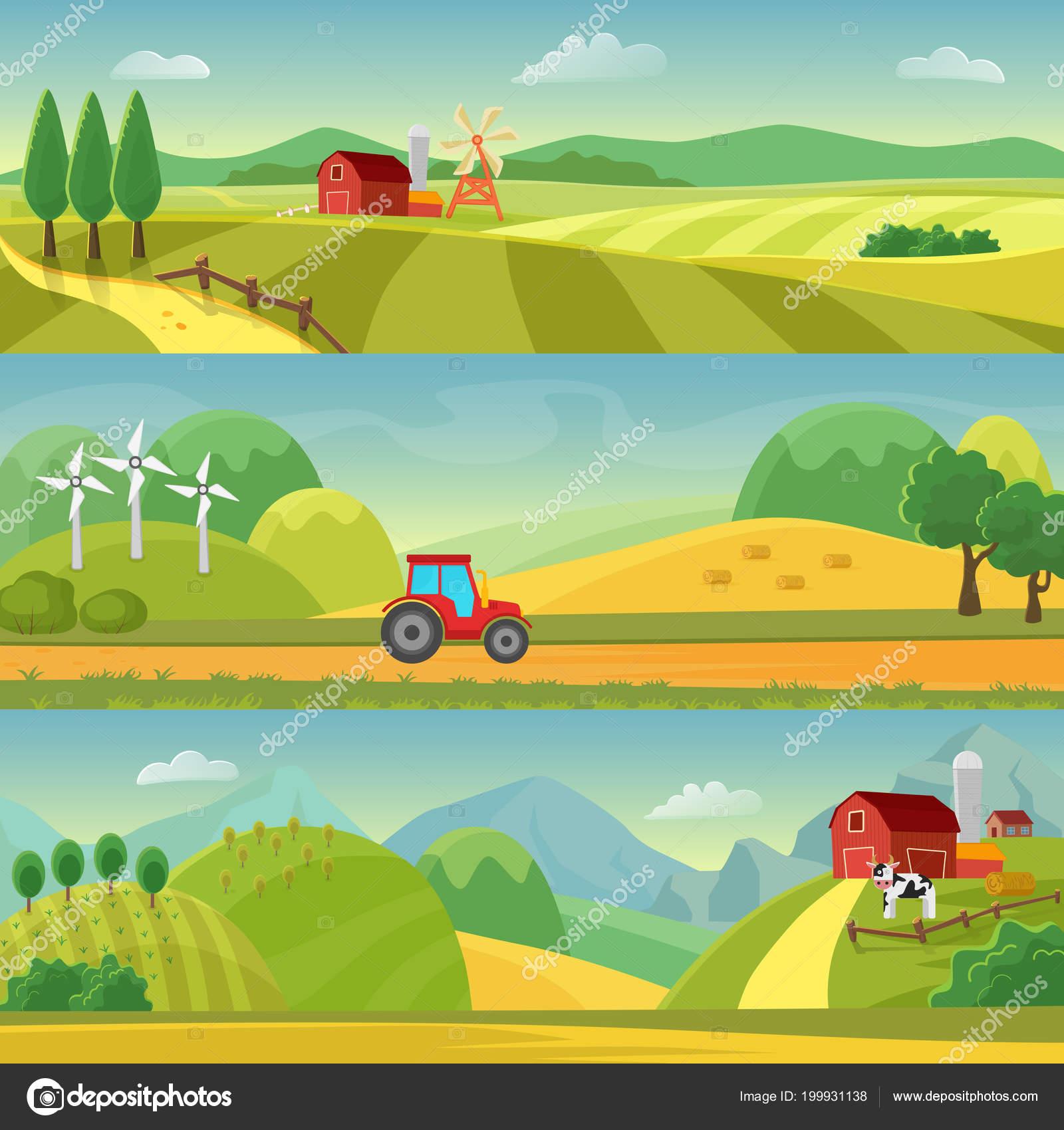 Paisajes rurales con campos y colinas y con una granja. Agricultura ...