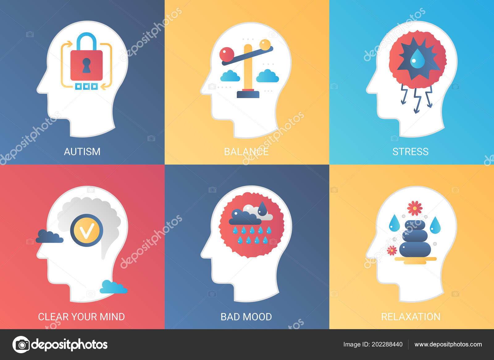 Vector Concept autism, balance, stress, clear mind, bad mood