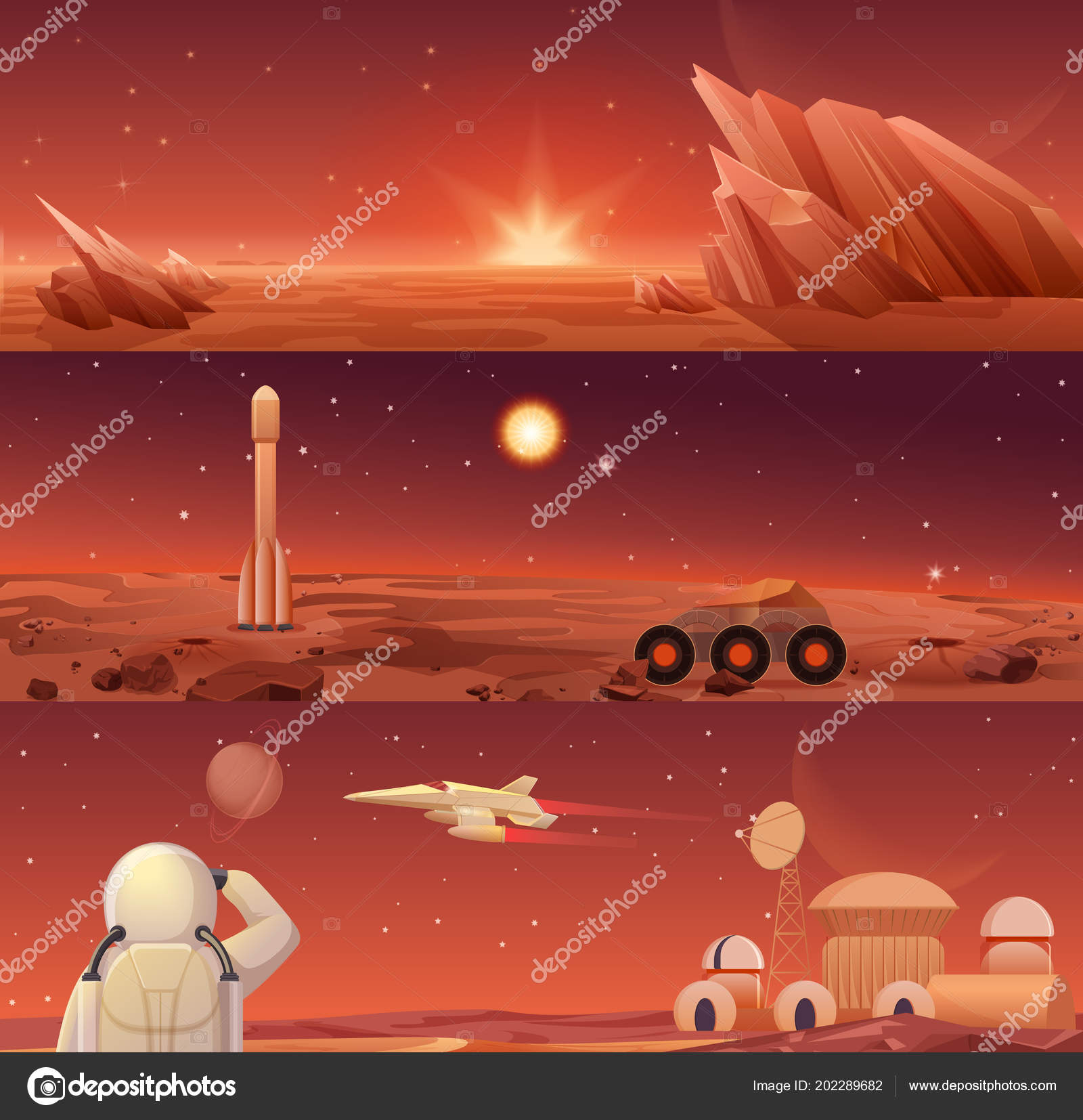 Red planet Mars colonization and exploration  Galaxy Mars landascape