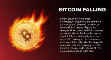 Yangında Bitcoin madalyonun düşüyor. Kırmızı Pazar. Bitcoin kuyruklu yıldız vektör çizim.