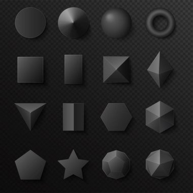 3d volumetric black shapes figures set. Realistic vector primitives with shadows clip art vector