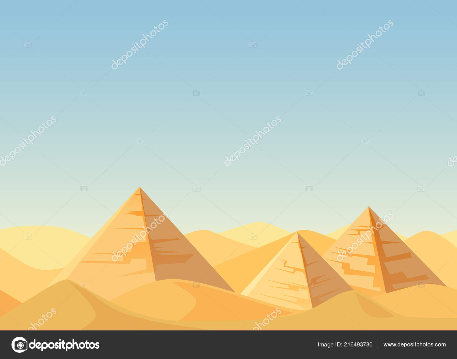 Egypt Pyramids Desert Landscape Cartoon Flat Vector Illustration