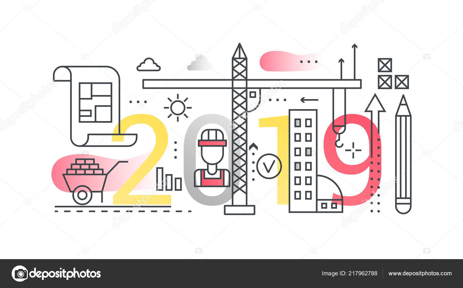 Building Construction 2019 Word Trendy Composition Concept