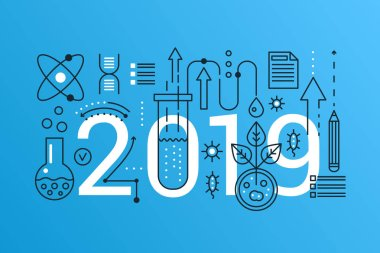 Science 2019 word trendy composition concept banner. Outline stroke school, university education, science and chemistry, discovery world. Flat line icons lettering typography.