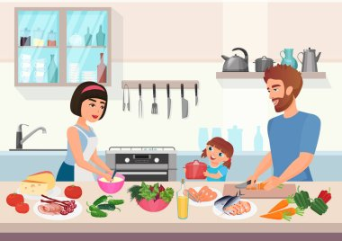 Happy young family cooking. Father, mother and daughter kid cook dishes in kitchen cartoon vector illustration.