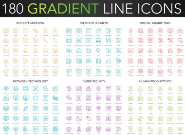 180 trendy gradient vector thin line icons set of seo optimization, web developm ent, digital marketing, network technology, cyber security, human productivity icon.