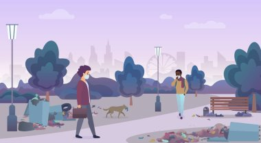 Smelling landfill waste with unhappy people in masks in disadvantaged city area street. Littering in the green nature park concept vector illustration.