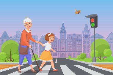 girl helps old lady to cross the road