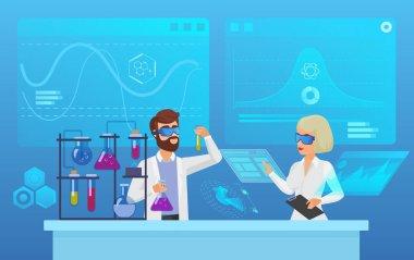 Scientific futuristic laboratory research flat vector illustration