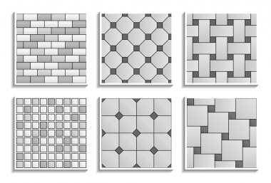 Set of grayscale seamless floor and wall tiles textures. Black-and-white patterns of mosaic, subway, brick, hopscotch, octagon, dot, basketweave