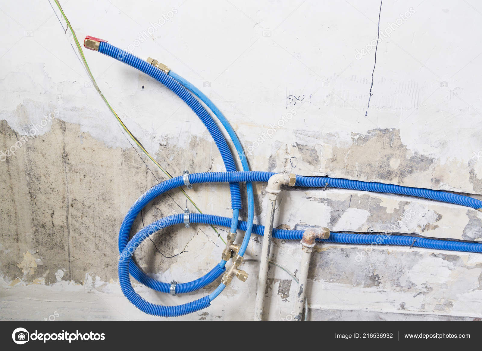 Water Pipes Made Polypropylene Pex Wall Plumbing House Installation