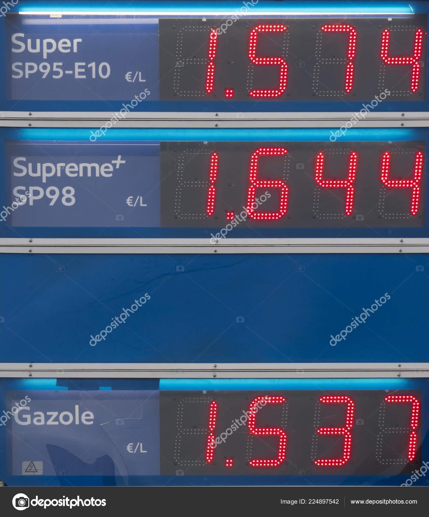 Blue Board Prices Gas Petroleum Written Red Oil Petrol