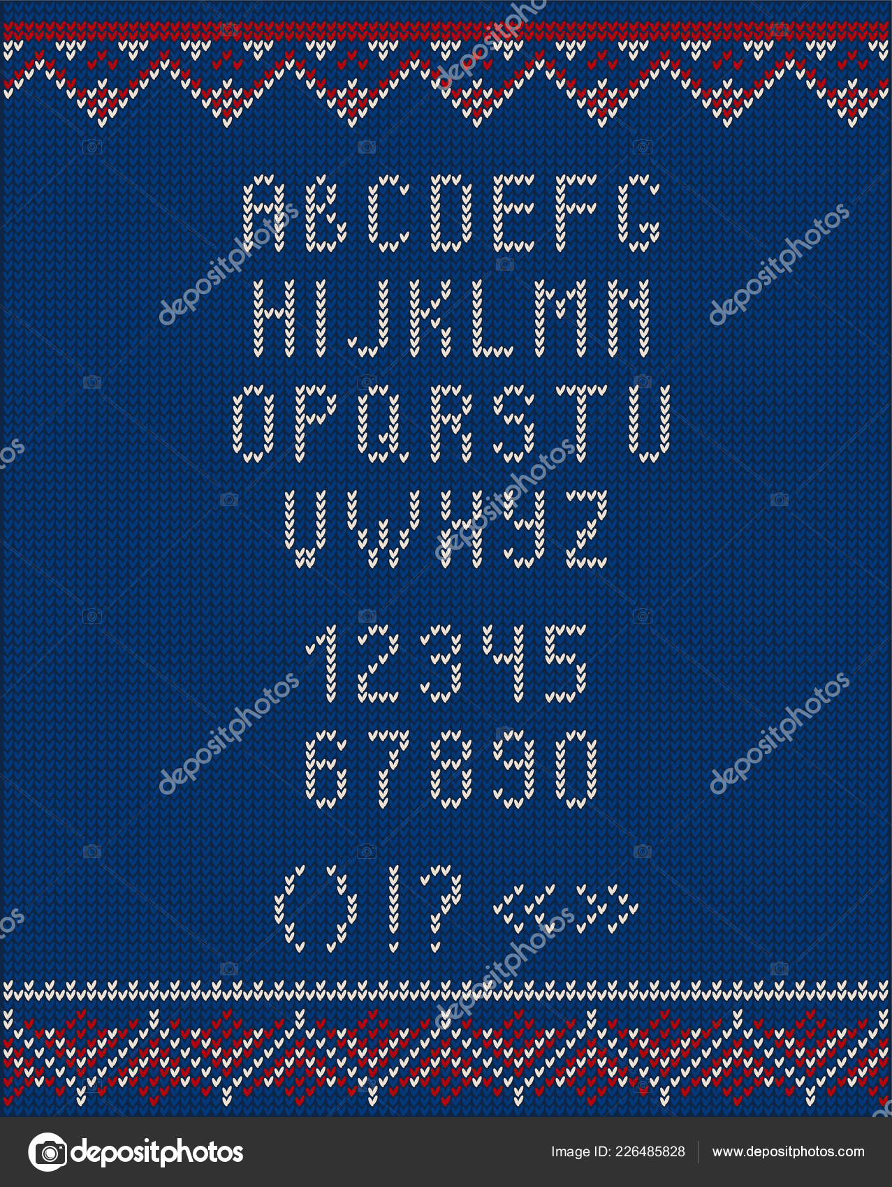 Ugly Sweater Font Vector Illustration Of Christmas Knitted