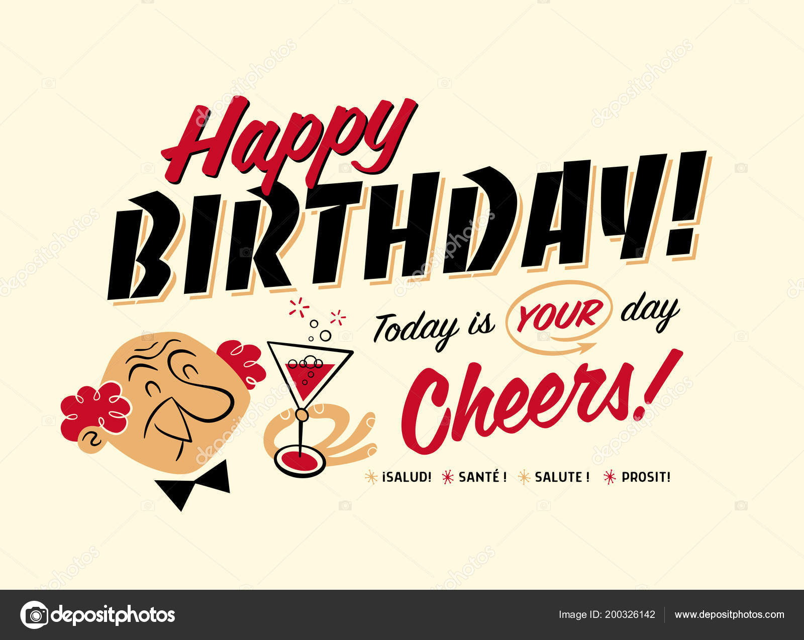 Vintage Style Happy Birthday Postcard Today Your Day Cheers