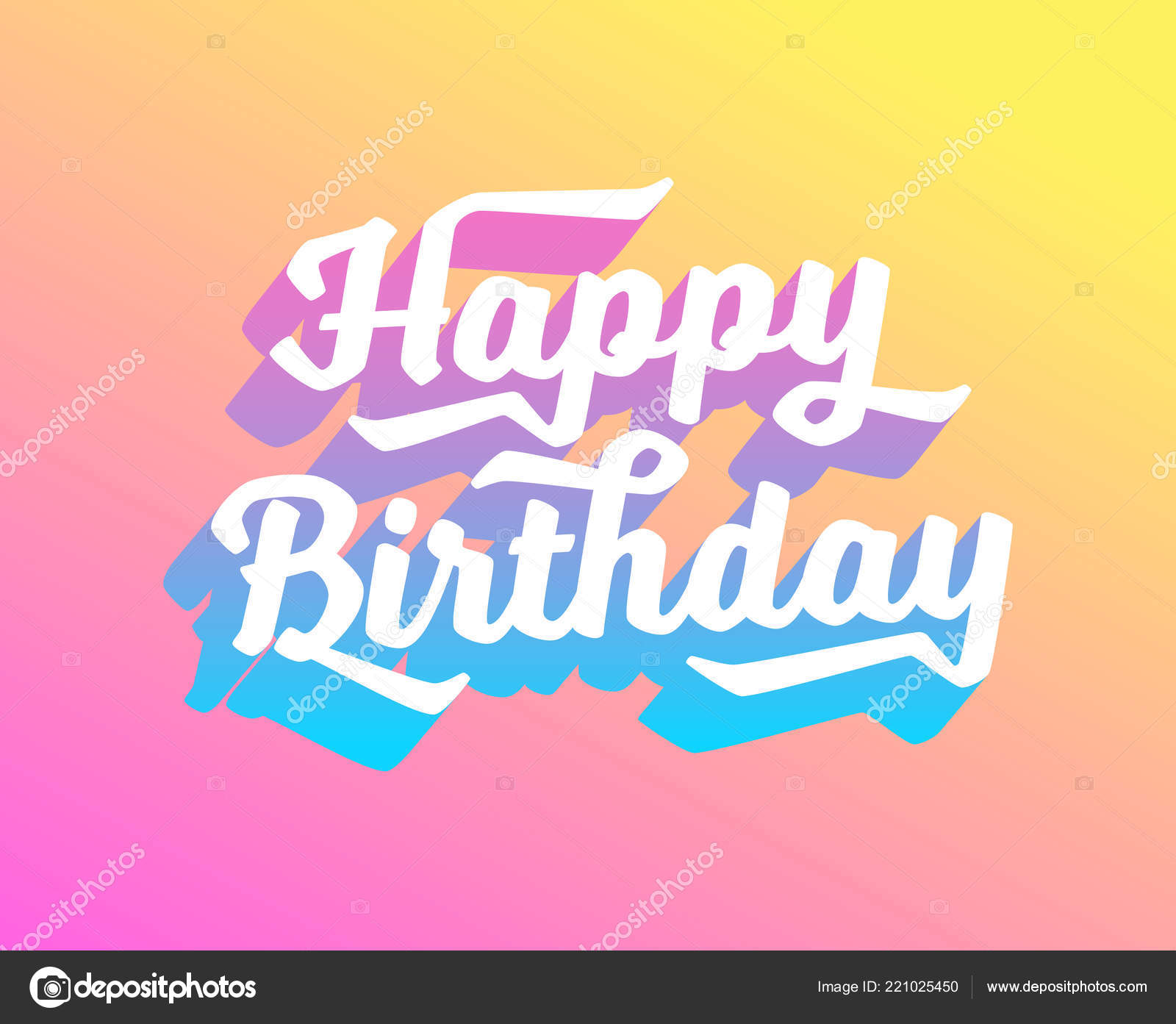 Happy Birthday Card With Gradients And Bright Colours Vector EPS 10 Template For Postcard Invitation Banner Website Flyer Newsletter Email