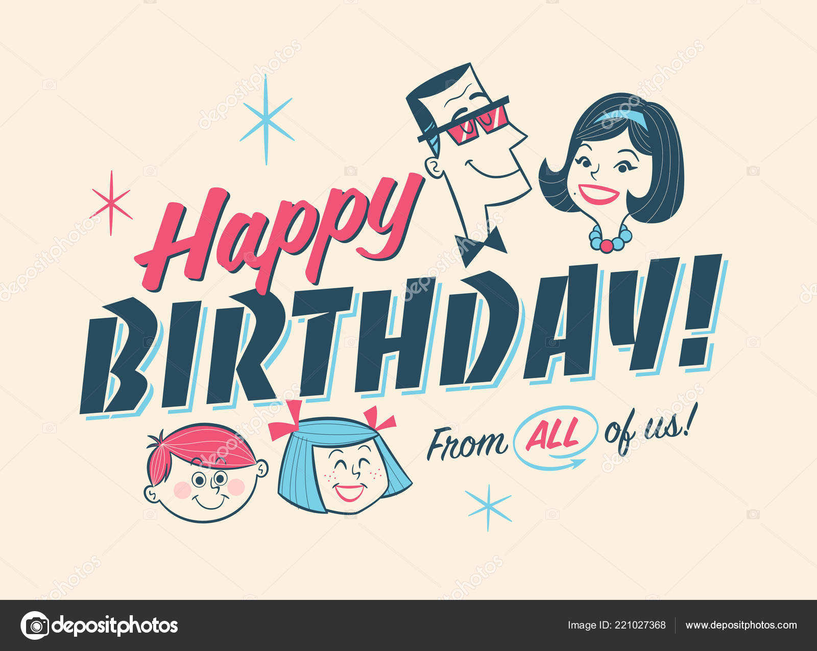 Vintage Style Birthday Greeting Postcard Happy Birthday All Stock Vector C Realcallahan 221027368