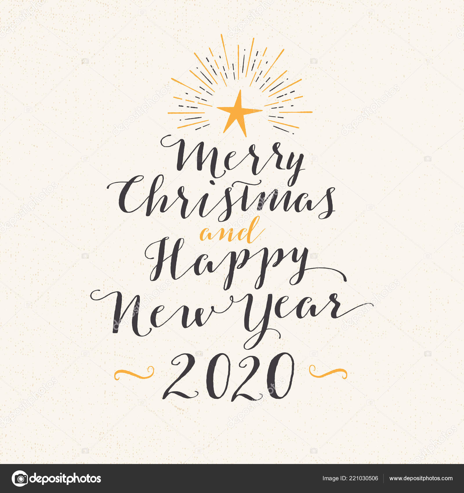 Merry Christmas And Happy New Year 2020 Writing Handmade Style Greeting Card Merry Christmas Happy New Year 2020