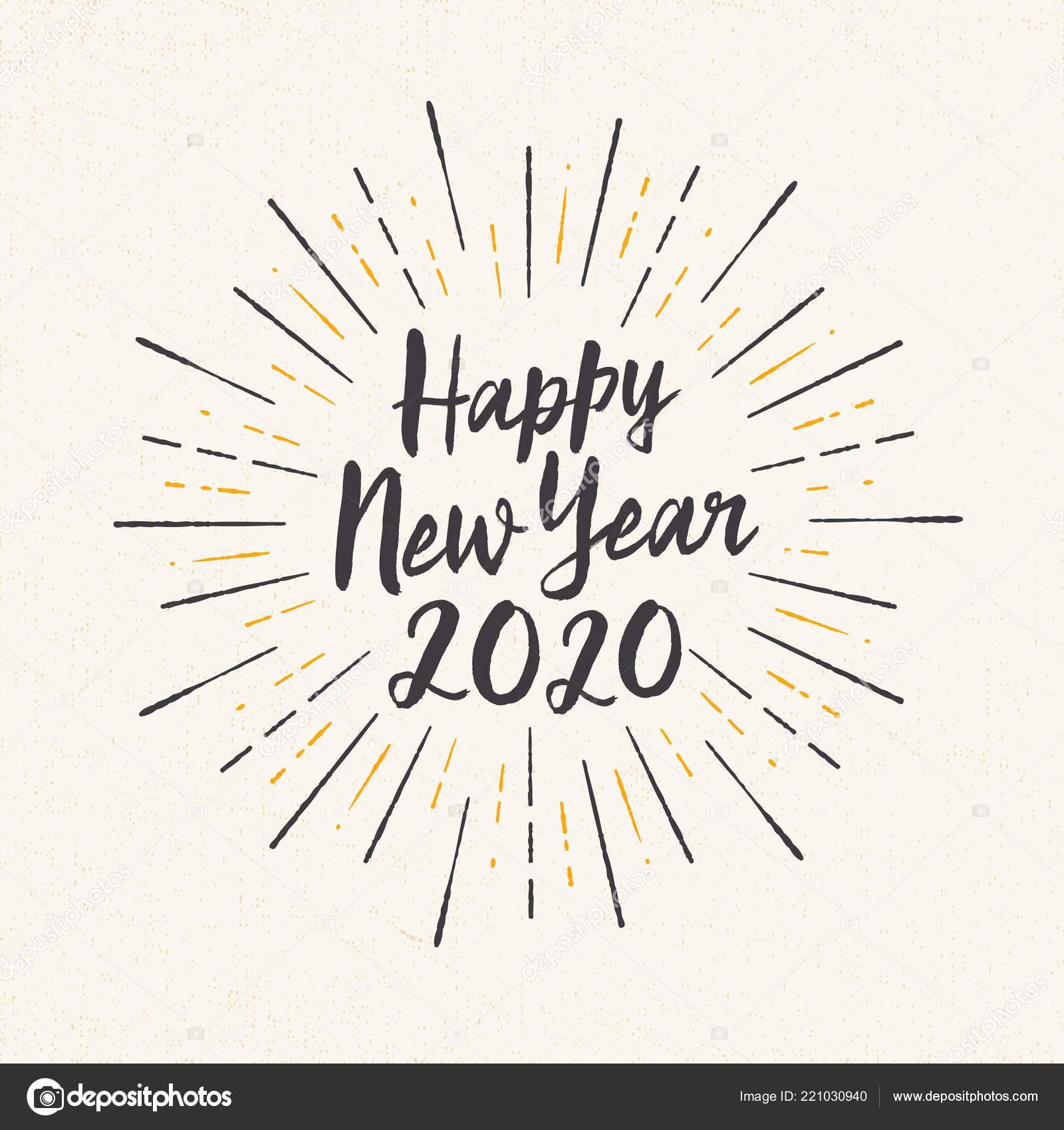 carte de voeux 2020 Carte Voeux Fait Main Style Happy New Year 2020 Vecteur — Image