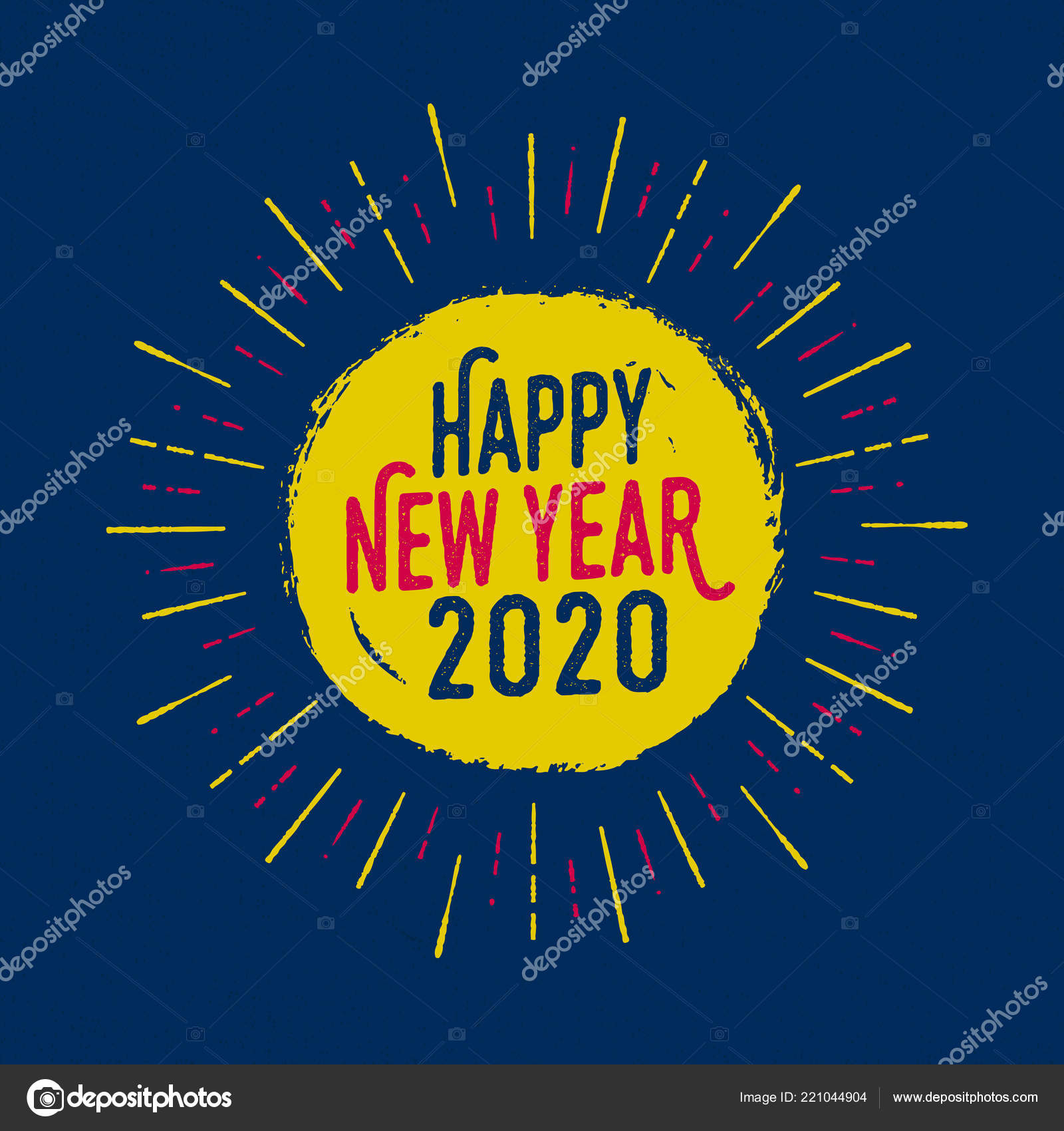 handmade style greeting card happy new year 2020 vector eps10 stock vector c realcallahan 221044904 depositphotos
