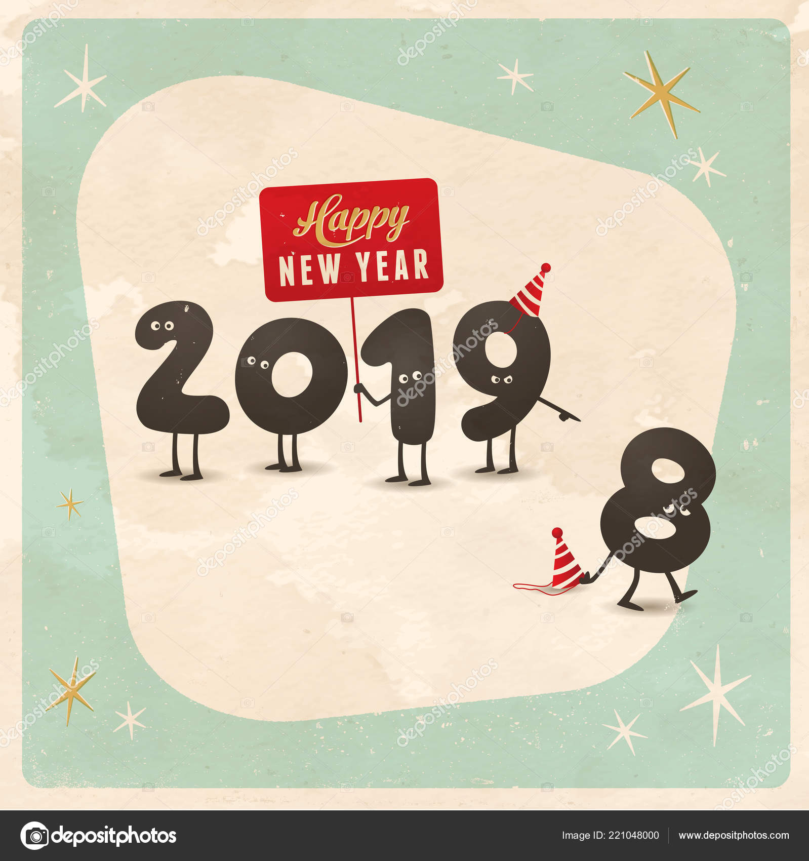 Vintage Style Funny Greeting Card Happy New Year 2019 Editable ...