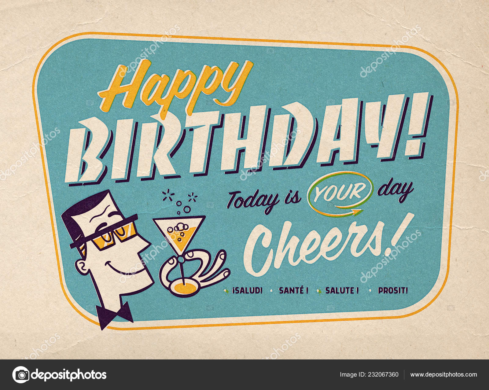 Vintage Style Happy Birthday Card Illustration with Retro Prepress Effects  - Cheers! 7