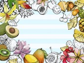 Summer background with fruit and flowers