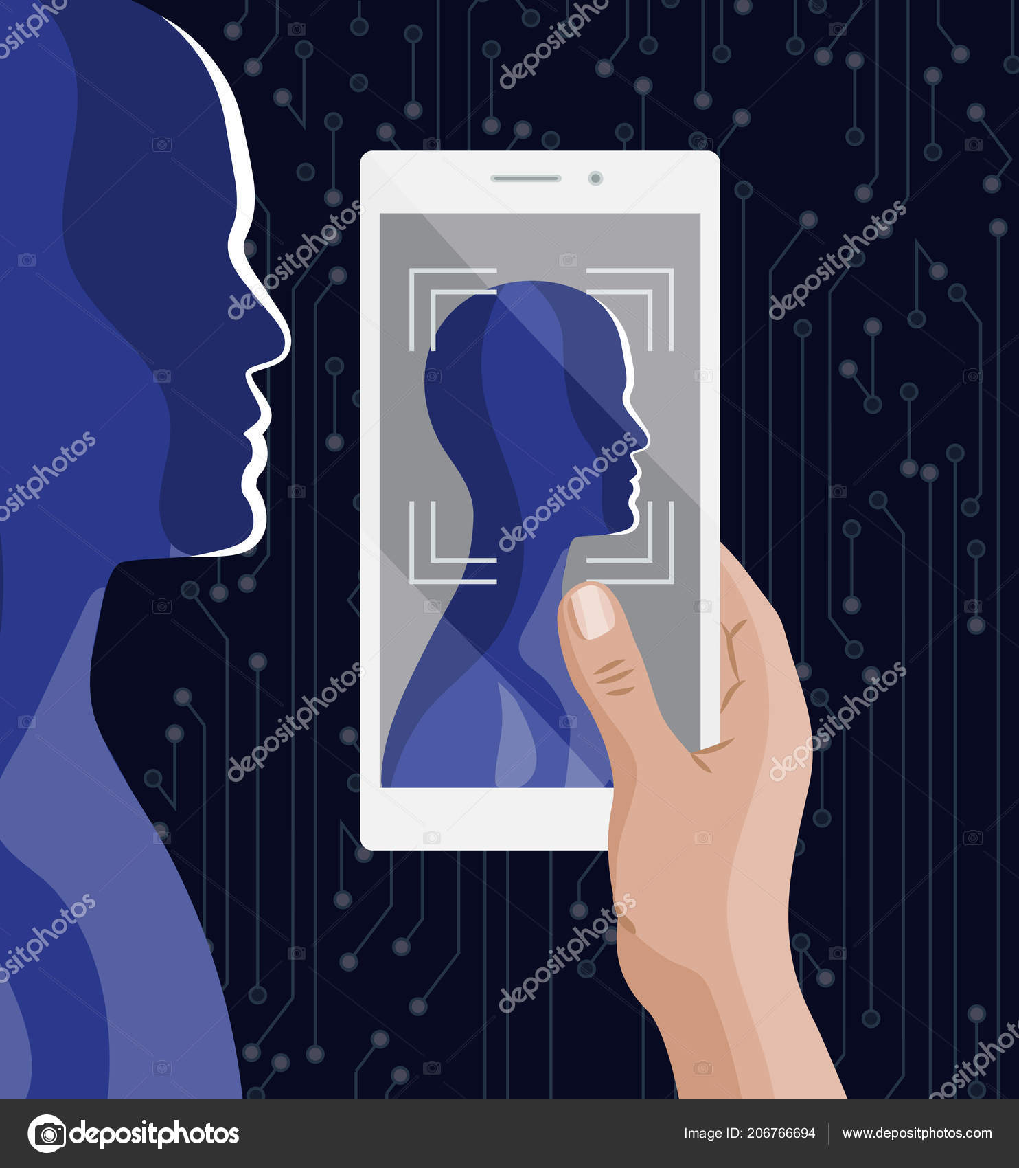 Biometric Facial recognition and identification system, wireframe concept —  Vector by Mirifada